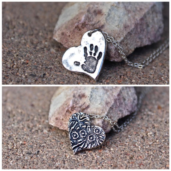 Handprint Charm, Real Hanprint Charm, Mother Jewelry, Handprint Heart, Handprint Charm, Texture Charm Sterling Silver, Real Handprint Charm