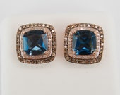 Reserved 4.50 ct London Blue Topaz and Fancy Cognac Diamond Halo Rose Gold Stud Earrings