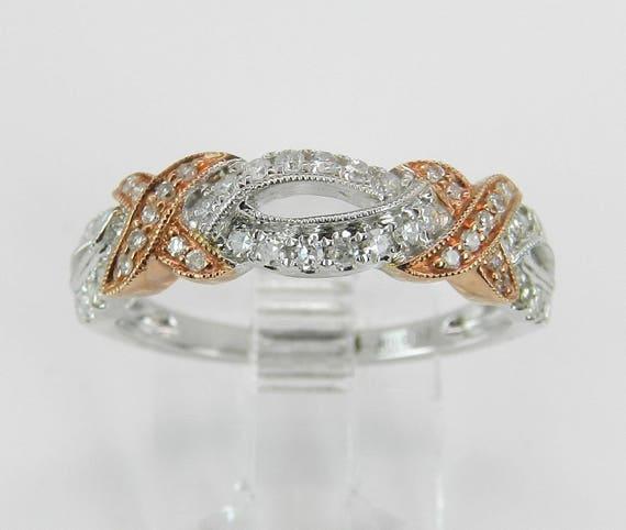 Diamond Wedding Ring Anniversary Band White Rose Pink Gold Size 7