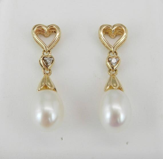 Pearl and Diamond Heart Dangle Drop Earrings Yellow Gold June Birthstone Gift