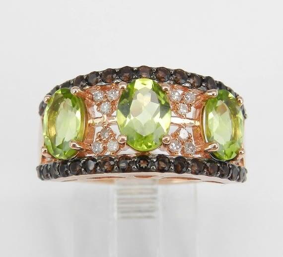 Three Stone Peridot and Diamond Anniversary Ring Band 14 Rose Gold Size 7 August Gemstone