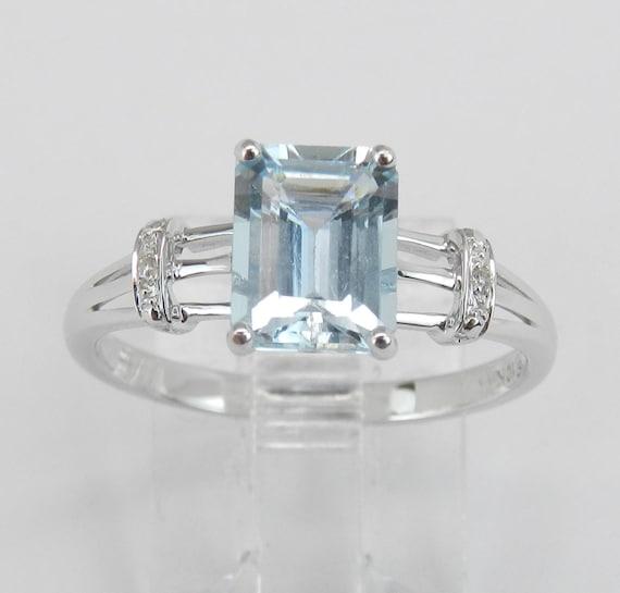 Diamond and Aquamarine Engagement Ring Aqua White Gold Emerald-Cut Size 7 March Gemstone
