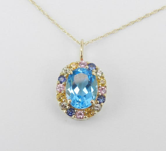 """Multi Color Sapphire and Blue Topaz Halo Pendant Necklace Yellow Gold 18"""" Chain"""