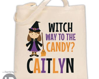 Personalized Trick or Treat Halloween Bag - Witch Trick-or-Treat Bag - Personalized Halloween Bag - Candy Bag - Witch Costume Bag