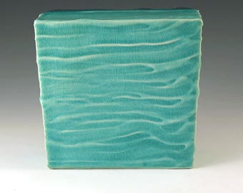 Turquoise Blue Wall Tile, Ceramic Wall Art, Handmade Pottery, Wall Hanging,  Wall