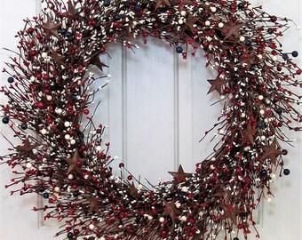 Large Wreath - Patriotic Door Decor - Americana Wreath - Summer Wreath - Rustic Star Wreath - 4th of July Home Decor - Patriotic Wreath