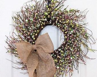 WREATH SALE Wedding Shower - Spring Wreath - Pink Green & White Berry Wreath - Wedding Wreath - Summer Wreath - Storm Door Wreath - Pip Berr