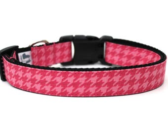"Pink Houndstooth Dog Collar 1"" Winter Dog Collar Pink Dog Collar SIZE LARGE Ready To Ship"