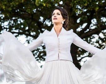 summersale Ivory wedding jacket -  bridal jacket - felted jacket - felt gown - felted wool jacket - wool jacket - white jacket - spring wedd