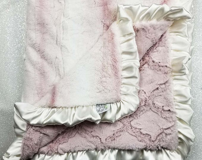 Minky blanket, faux fur throw, Rosewater hide, baby girl blanket, vintage pink, elegant blanket, plush blanket, gift ideas, adult minky