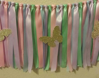 Custom Color Made to match Your event Glitter Butterfly Ribbon Garland Backdrop Photo Prop Birthday Party Baby shower Bridal shower