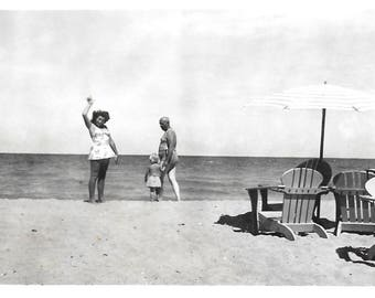 "Vintage Snapshot ""Up There!"" Woman Points To The Sky Swimsuit Beach Man & Child Walking Adirondack Chairs Found Vernacular Photo"