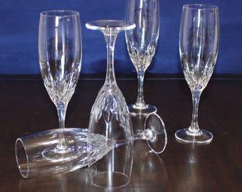 Lovely, Set of 5, Vintage Vertical Cut, Fluted Champagne Glasses