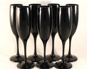 Vintage, Set of 7, Libbey Premier, Black Amethyst Fluted Champagne Glasses