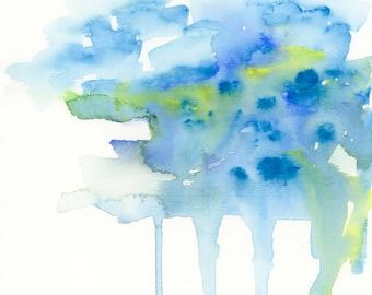 Abstract Art Print, Watercolor Print, Cloud, landscape art, Modern Art Print, Contemporary Art Print, Square Art