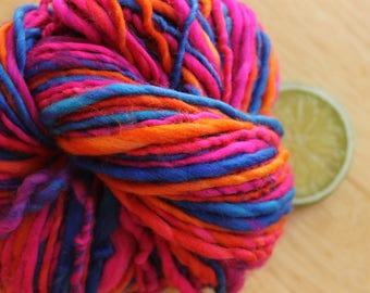 Volcano - Bulky Handspun Merino Wool Yarn Superwash Self Striping
