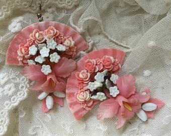 Ooak orchid vintage haskell garland earrings