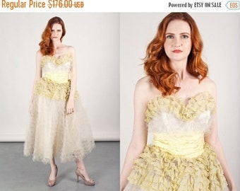 FLASH SALE 50s Cake Gown Vintage White Yellow Ruffle Cake Bridal Dress