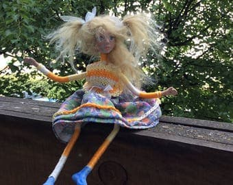 Hanging Art Doll, OOAK Handmade Paperclay Doll, Wall or window decor, Ready to Hang, Ornaments