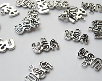 10 USA charms antique silver plated Independence Day 15x11mm 8656FX
