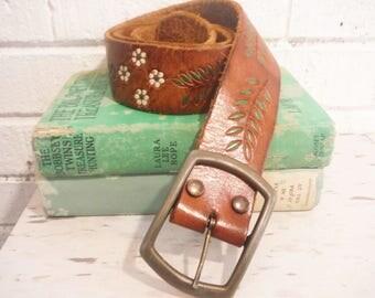 Dirty hippie belt 1960's fashion, hand tooled leather flowers vine, leather retro belt vintage
