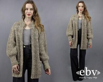 Chunky Cardigan Chunky Knit Chunky Sweater Leg O Mutton Sleeves 80s Sweater Coat 1980s Sweater Oatmeal Sweater 80s Blouson Sweater S M L