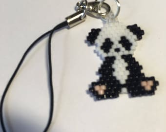 Beautiful Hand Beaded Panda cell phone charm