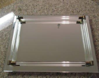 8 x 11 Vintage Mirror Vaniety Tray Perfume Cologne Holder Dresser Organizer
