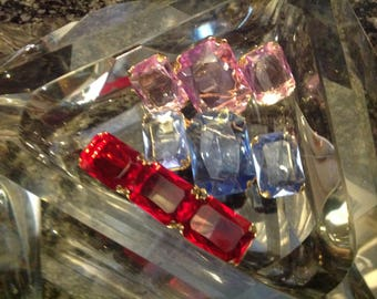 TRIO~1950's~1960's Modernistic Art Glass~ Pins~Brooches