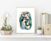 Orange Koi Fish, Watercolor Print, fish watercolor, wall art, beach art, koi fish, Koi