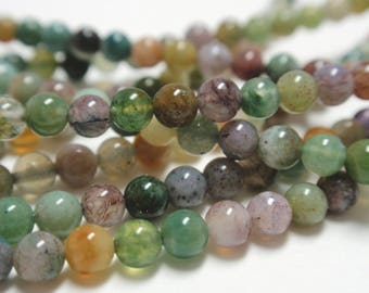 "Indian Agate Round Beads, 3mm Multi Indian Agate Tiny Round Beads, 15 1/2"" Strand - 123 Beads"