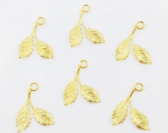 Gold Brass Leaf, Brass Leaves, Leaf Charm, Gold Leaf, Bridal Headpiece, Wedding Headpiece, Brass Stamping, 16mm x 21mm - 6 pcs. (gd144)
