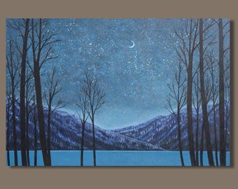 FREE SHIP abstract painting, nocturn painting, winter landscape painting, blue, stars, night sky, starry night, moon, mountains, lake, water