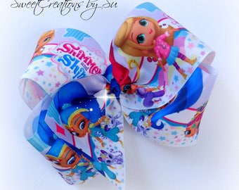 Big bows jojo bows boutique bows party gift handmade fashion Shimmer and Shine