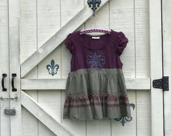 Rustic tunic blouse L, romantic babydoll top blouse, upcycled purple green tunic top