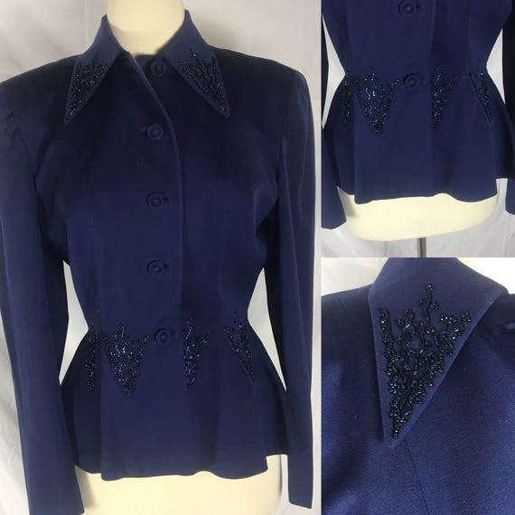 Vintage 1940s Dark Blue Beaded Julliard Wool Womens Jacket for Maxines of Pittsburgh Small Medium