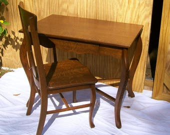 Antique Quarter Sawn Desk and Chair