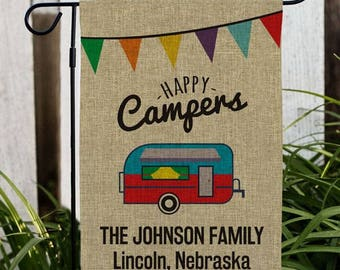 Personalized Happy Campers Flag, Custom Campsite Frame, Camping Flag, Burlap Camp Flag