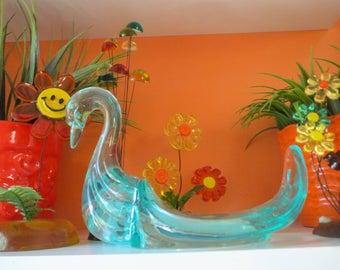 Vintage 1970s Retro Aqua Blue Lucite Acrylic Swan Bathroom Decor Soap Dish Sculpture