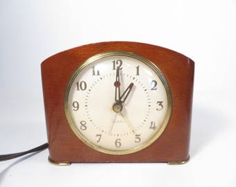 Vintage Wood Case Westclox Electric Alarm Clock - Electric Westclox Table Clock