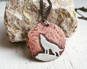 Howling Wolf Pendant - Spirit Animal Necklace
