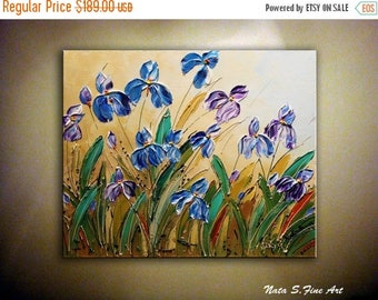 "Summer SALE Wild Irises ORIGINAL Painting Abstract Textured Iris on Canvas Palette Knife Contemporary Floral Art Modern Wall Decor 20"" x 24"""