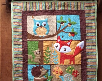 Woodland forest  quilted wallhanging or blanket