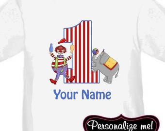 ON SALE Circus Clowns Personalized Birthday Shirt - ANY Age