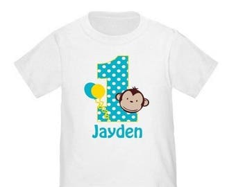 ON SALE Personalized 1st Birthday Monkey Shirt - ANY Age and Name