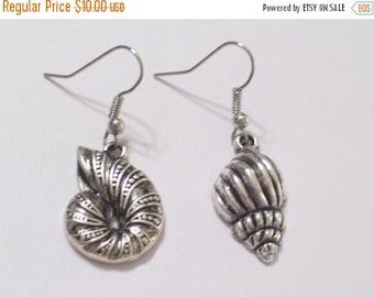 Asymmetrical Antiqued Silver Nautilus and Whelk Sea Shell Pierced Dangle Earrings