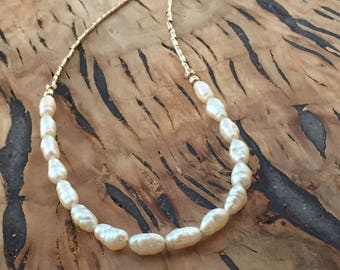 freshwater pearl 14kt gold filled necklace