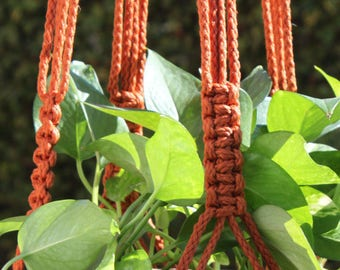 CROWNE ROYALE - Orange Handmade Macrame Plant Hanger Plant Holder with Wood Beads - 6mm Braided Poly Cord in RUST