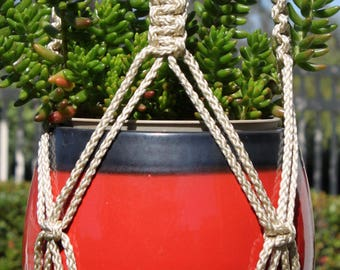 CROWNE ROYALE - Handmade Macrame Plant Hanger Plant Holder with Wood Beads - 6mm Braided Poly Cord in PEARL