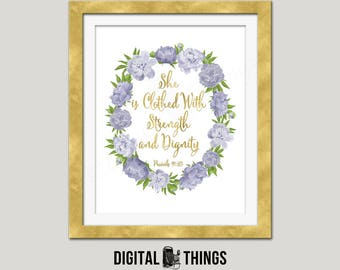 Gold Foil Printable She Is Clothed With Strength and Dignity Inspirational Quote Motivational Typography Digital Instant Download DT1988